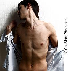 muscular, homem, excitado