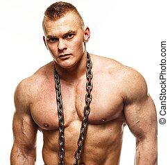 muscular, homem, jovem, corrente, bonito