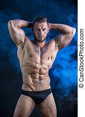 muscular, homem, jovem, ficar, shirtless