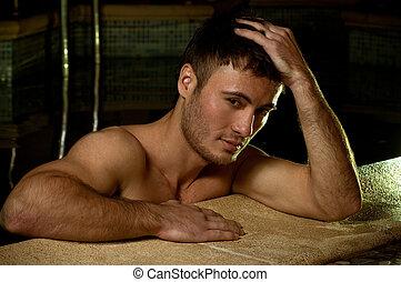 muscular, homem, jovem, molhados, excitado