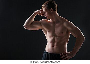 muscular, homem jovem, mostra, a, diferente, movimentos, e,...