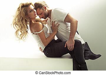 muscular, homem, tocar, seu, sensual, mulher