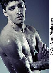 muscular, joven, sin, camiseta