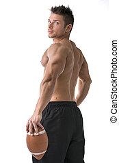 muscular, jugador del fútbol americano, posición, con, bola...