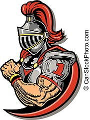 muscular knight football player with helmet