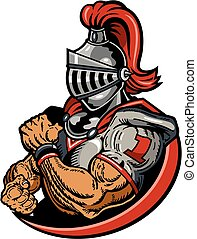 muscular knights football player mascot for school, college or league
