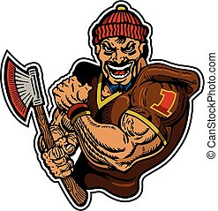 muscular lumberjack football player mascot for school, college or league