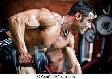 muscular, macho, bodybuilder, trabalhar, em, ginásio, exercitar, triceps, inclinar-se, um, banco