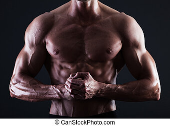 muscular, macho, torso, con, luces, actuación, músculo,...
