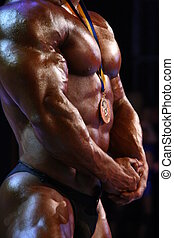 muscular male chest and hands