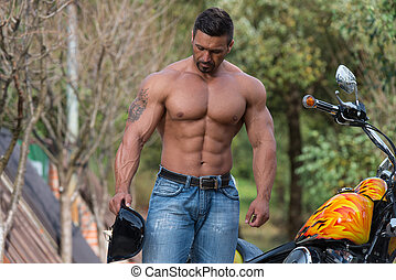 Muscular Man And Motorcycle - Biker Man Bodybuilder And The...