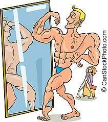 Illustration of muscular man looking in the mirror