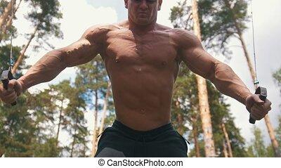 Muscular man bodybuilder doing exercises for biceps in pine...