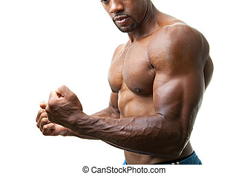 Muscular Man Flexing