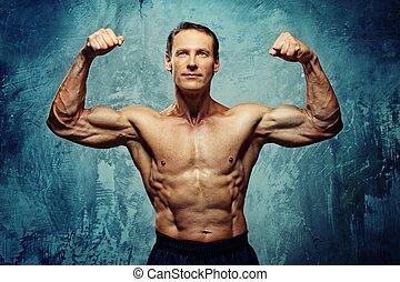muscular, man., guapo