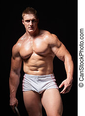 Muscular man in underwear - Portrait of a young muscular man...