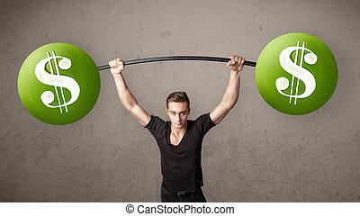 muscular man lifting green dollar sign weights - Strong...