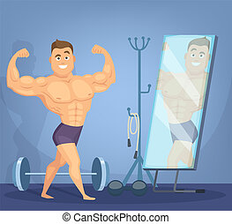 Muscular man posing a front of mirror. Bodybuilder standing in static pose