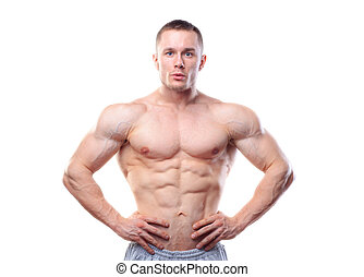 Muscular man posing over white isolated background
