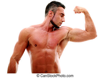 Muscular man showing his biceps isolated on white background