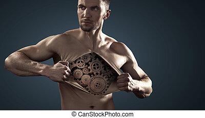 Muscular man showing his internal mechanism