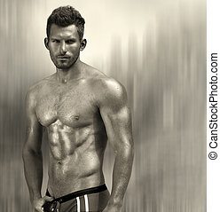 Muscular man - Portrait of a sexy muscular male model...