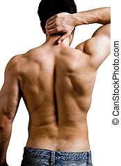 Muscular man with back neck ache isolated on white