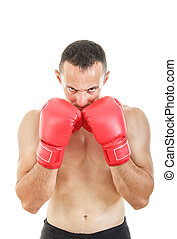 muscular man with connected red boxing gloves near his face
