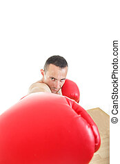 muscular man with red  gloves hiting to camera