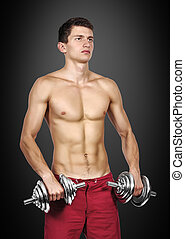 man with two dumbbells
