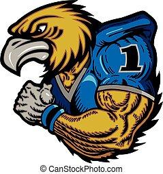 hawk football player - muscular, mean hawk football player