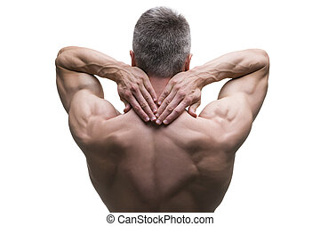 Muscular middle-aged man posing on white background, isolated studio shot, back view