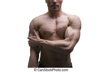 Muscular middle-aged man posing on white background, isolated studio shot