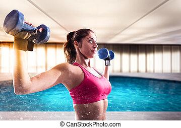 muscular, mulher, é, treinamento, com, pesos, dumbbells