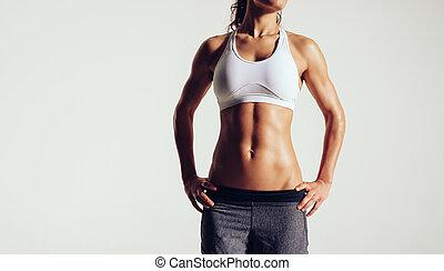 muscular, mulher, posar, sportswear, jovem