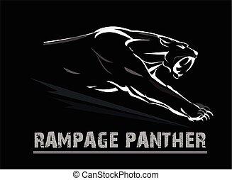 muscular, pantera, panther., rosto, fang