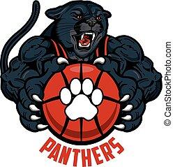 panthers basketball - muscular panthers basketball mascot...