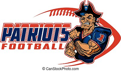 muscular patriots football player team design for school, college or league