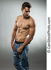 muscular, pelado, posar, metade, bonito, homem