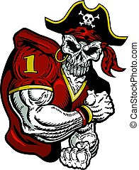 pirate football player - muscular pirate football player...