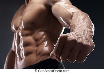 muscular, punho, vein., mostra, bonito, bodybuilder, seu