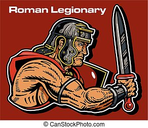muscular roman legionary with shield and gladius from ancient rome