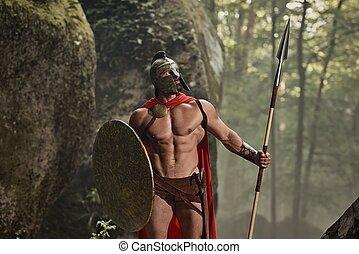 Muscular Roman warrior in armor