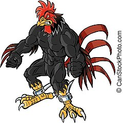 Vector cartoon clip art illustration of an angry muscular rooster or gamecock or chanticleer mascot with spurs and gritting teeth.