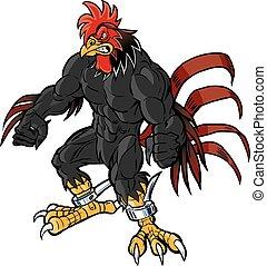 muscular rooster mascot gritting teeth - Vector cartoon clip...