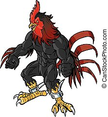 muscular rooster mascot realistic head