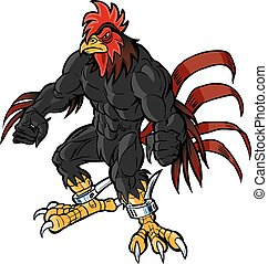 muscular rooster mascot scowling - Vector cartoon clip art...