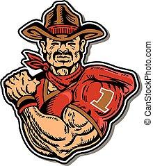 muscular rough rider football player mascot