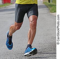 muscular runner during a race