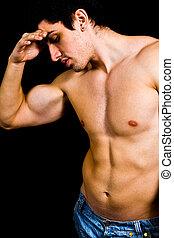 Muscular sexy bodybuilder - Fine art portrait of muscular...